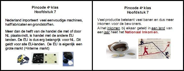 pincode economie 4e klas mavo vmbo aantekeningen samenvatting oefenen Nederland eu interne markt nationaal inkomen banen