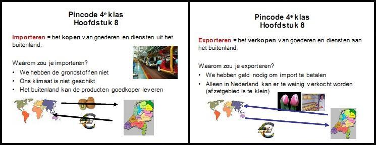 pincode economie 4e klas mavo vmbo aantekeningen samenvatting oefenen importeren import exporteren export handel buitenland