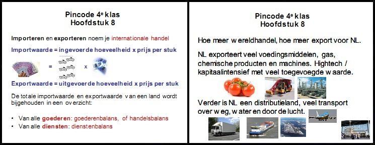 pincode economie 4e klas mavo vmbo aantekeningen samenvatting oefenen internationale handel importwaarde exportwaarde wereldhandel kapitaalintensief