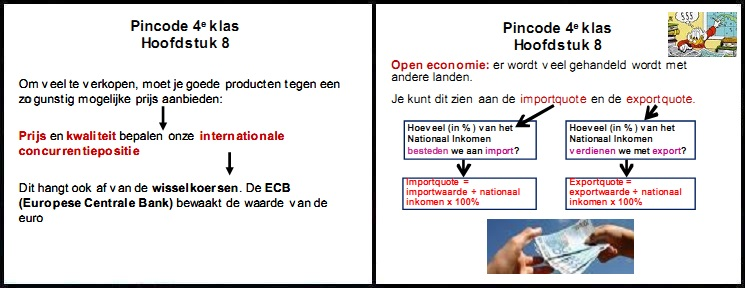 pincode economie 4e klas mavo vmbo aantekeningen samenvatting oefenen prijs kwaliteit internationale concurrentiepositie ecb europese centrale bank wisselkoers open economie importquote exportquote nationaal inkomen